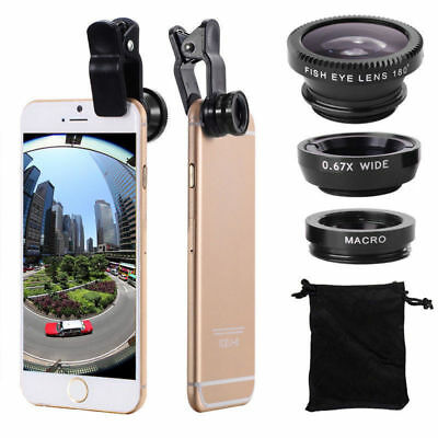 3in1 Fisheye Wide Angle Macro Lens Clip-On Camera Kit for iPhone 6S Samsung ON