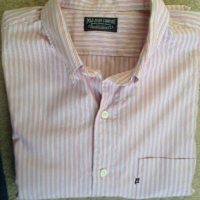 "Immaculate Mens Ralph Lauren Polo Jeans Classic Pink Striped Shirt L/42"" Chest"