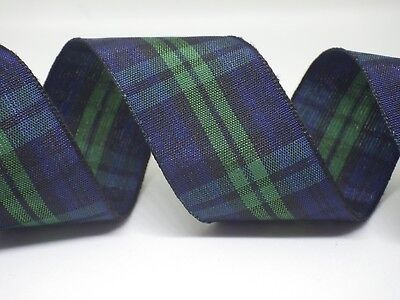 Blue Green Tartan Ribbon 15mm or 25mm in 2m or 5m cut lengths - free postage