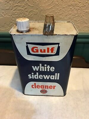 Rare Gulf Oil White Sidewall Cleaner 1 Gallon Metal Can (Empty)