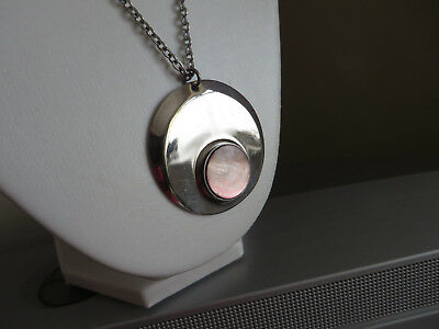 Vintage 1970s stainless steel and shell Modernist circular pendant