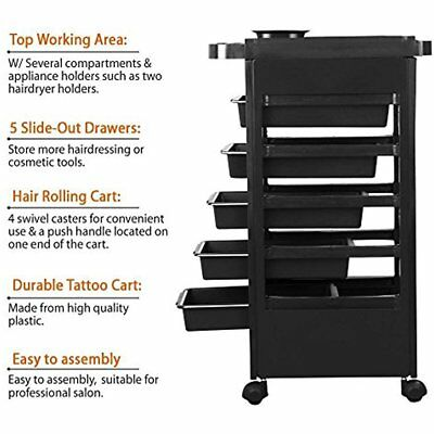 Beauty Salon Rolling Trolley Cart Hairdressing W/ 5 Drawers