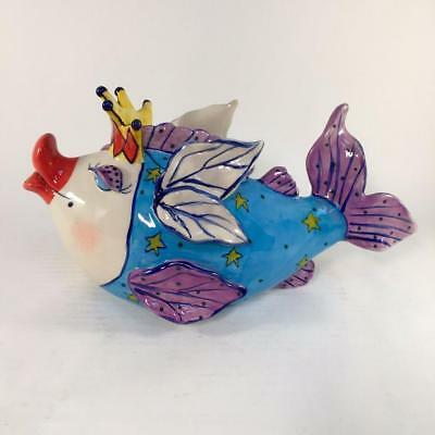 Blue Sky Fairy Cod Mother Fish Teapot by Diane NIB Beach Decor Ocean Tea Party