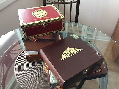 Lot Of 6 Empty Wooden Cigar Boxes Assorted Various