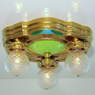 Vintage Art Deco Victorian Flush Chandelier 3 Light Ceiling Fixture Floral Gold