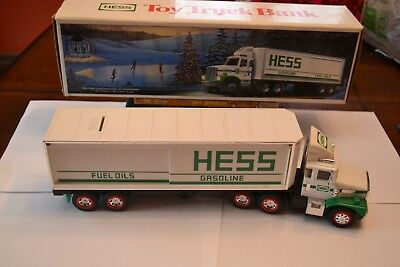 1987 Hess Truck Bank With 3 Hess Barrels And Lights Work All.
