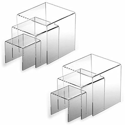 "Top Display Risers Quality (2 Sets Of 3pcs) Clear Acrylic (3"", 4"", 5"") Jewelry"