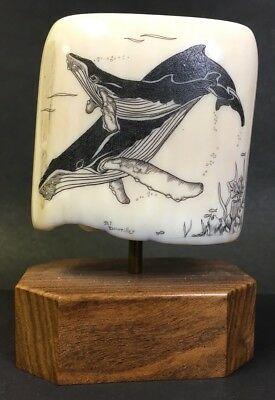 Scrimshaw Tooth On Stand - Humpback Whale & Calf Signed Art - Bj Doufkiller