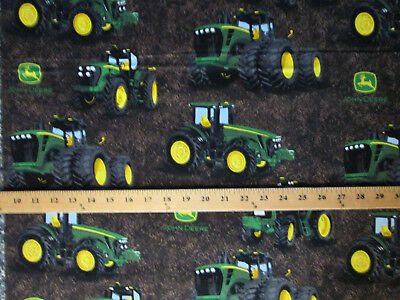 John Deere Tractors Dirt Logo Yellow Green Cotton Fabric Fq Oop