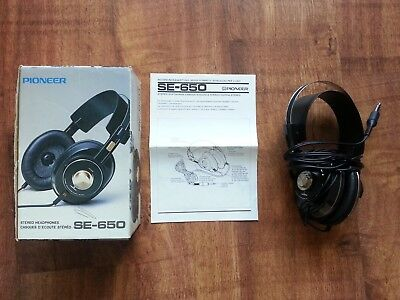 Pioneer Stereo Headphones Se-650 Boxed Instructions 1980 Vintage Retro Over Ear