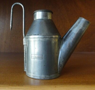 C. George Early Coal Miner's Oil Wick Face Lamp, Large milk can vent top design.