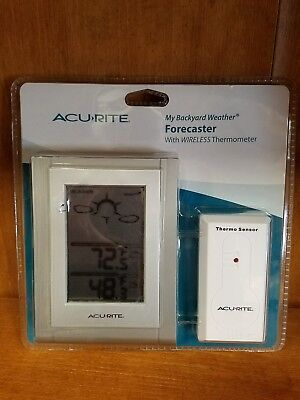 New Acu Rite 00823 My Backyard Weather Forecaster Wireless Thermometer