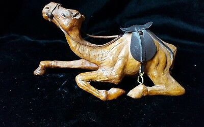 Vtg Leather Wrapped Sitting Camel Figurine With/Saddle/Brass Stirrups     r140.4