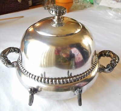 Antique Pre-1899 Silverplate Round Domed Butter Dish Keeper & Drainer