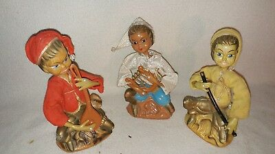 vintage Asian instrument playing dolls figurines plastic cloth 1960's