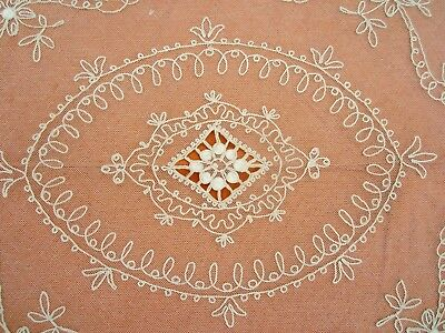 """Antique French Net Lace Bedspread Tambour Lace  78"""" x 94"""""""
