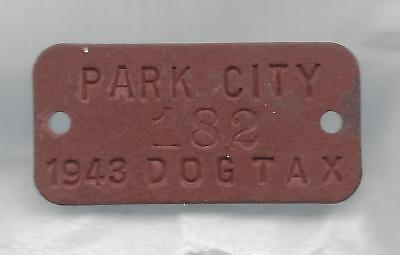 Park City (UT)  dog license tax tag,  1943 wartime fiber