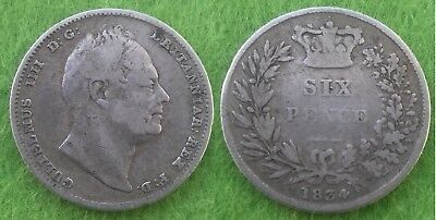 1834 William IV Silver Sixpence (F)