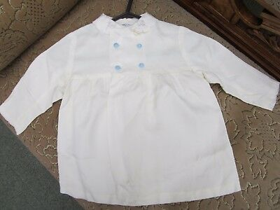 "Vintage baby coat cream with blue buttons ""Little Chicks"""