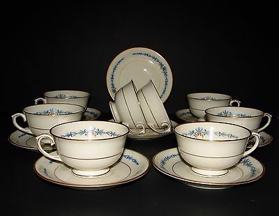 NATALIE by LAMBERTON Ivory China Porcelain Set Of  8 Tea CUPS & SAUCERS