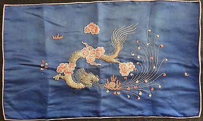 "Antique Japanese embroidered silk fukusa, Meiji period (1868-1912) 26"" x 15"