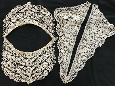 Beautiful Antique Lace Collars - Unusual Bib Front & Long V- Neck