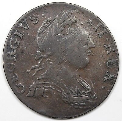 1775 Contemporary Non-Regal Great Britain Halfpenny, George III, VF-XF detail
