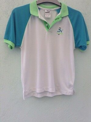 """Vintage Boys Polo Type Shirt Fit Chest 30"""" From Puma White With Blue & Green"""
