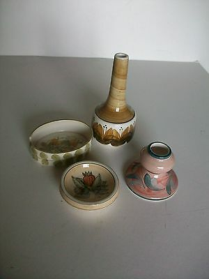 4 Jersey Pottery Dishes - Vase/ Pin Dish/Ash Tray/Candle Holder