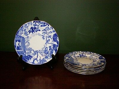Royal Crown Derby Mikado Set of 6 Bread and Butter Plates - 1932-1951