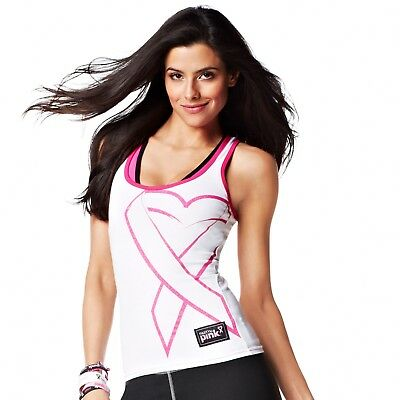 ZUMBA Fitness Party in Pink Groove for the Cure tank top racerback white NWT