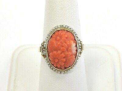 Vintage Estate 14K Yellow Gold Carved Coral Seed Pearl Ring Flowers Daisy Sz 6.5