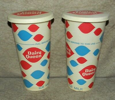 (2) LG 1959 VINTAGE DAIRY QUEEN ICE MILK CREAM SHAKE CUPS AND ONE LID clean NOS
