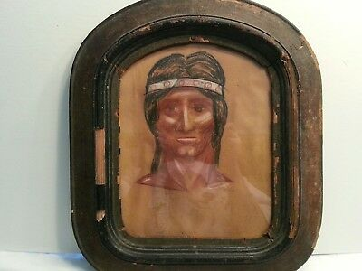 Antique Native American Signed Chalk Art In Frame