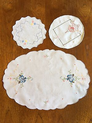 Vintage Hand Embroidered Cotton Doilies Mixed Set Dressing Dining Crochet