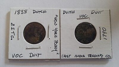 Lot of 2 Dutch VOC Duit East India Trading Company Coins