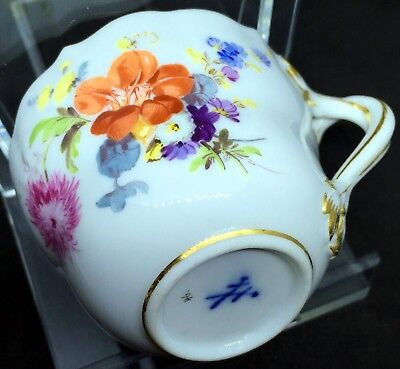 MEISSEN - 19th Century - Demitasse Coffee Cup - Floral & Insect