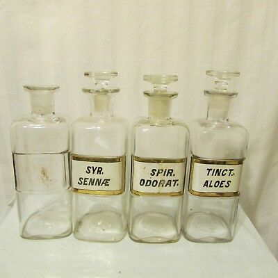 Apothecary Bottle s Lot of 4 Glass VTG 3 w Glass Stoppers 16oz W.T. Co. 1889