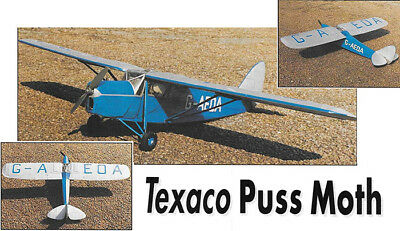 """Model Airplane Plans (RC): DH80-A Puss Moth 42"""" ≈1/10 Scale for Texaco .049"""