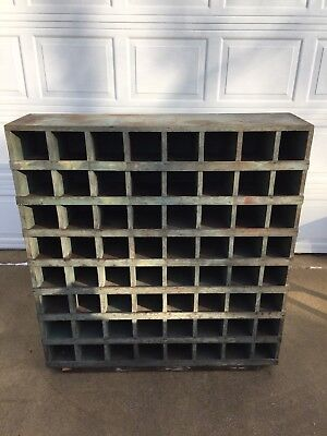 Vintage Primitive Industrial Wooden Parts Bin Cubby Hole Storage Cabinet