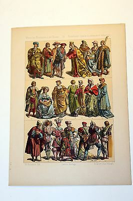 Antique MIDDLE AGES COSTUME Print by F. Hottenroth-1884 NETHERLANDS 16th Century
