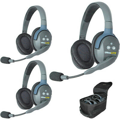 Eartec UltraLITE 3-Person Headset System with Batteries, Charger & Case (Du