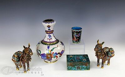Large Lot Of Chinese Cloisonne Vases Cups Boxes Etc