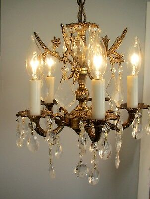 "UNUSUAL Vintage Petite Brass Crystals Chandelier Small 11"" x 13"""