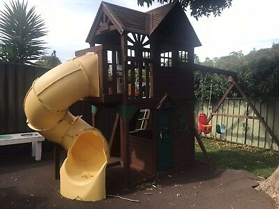 Outdoor play set swing cubby slide jungle gym park