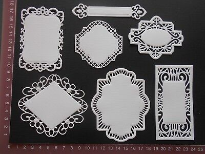 Die cuts - Mats Tags x 7 Embossed card toppers, embellishments