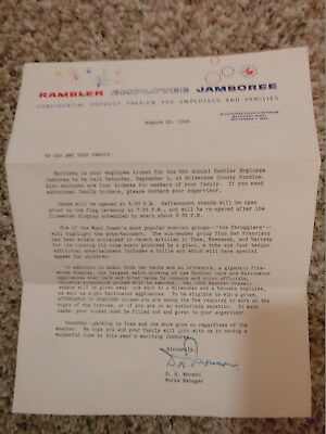 Rambler Employee Jamboree Letter - August 22nd, 1962