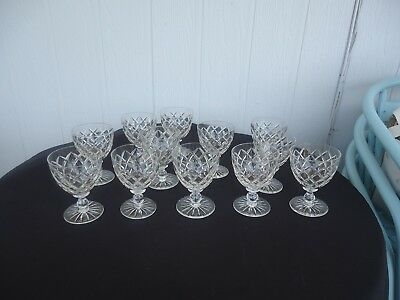 12 vintage antique art deco crystal wine glasses