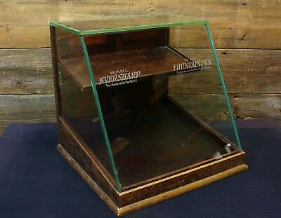 Vintage WAHL EVERSHARP Fountain PEN and PENCIL Etched Glass EARLY Display CASE