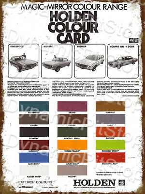 30x40cm Holden HQ Colour Chart Rustic Tin Sign